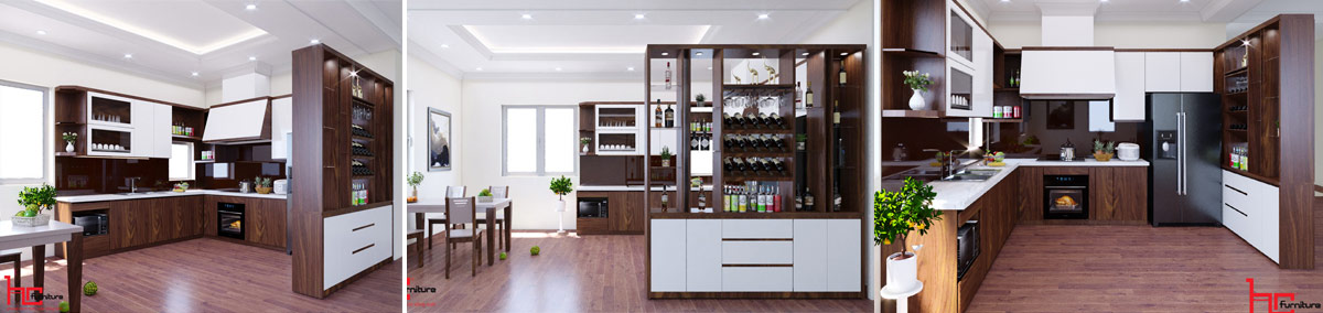 Thiết kế tủ bếp Verneer Hải Phòng, Đóng tủ bếp gỗ Hải Phòng giá rẻ