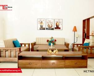 Sofa gỗ tự nhiên đệm nỉ đẹp HCTN003