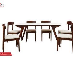 Bộ bàn ghế ăn 1m6 gỗ tự nhiên mặt đá T932