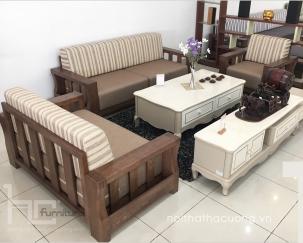 Sofa gỗ HCTN04 (2 phiên bản màu sồi/óc chó)