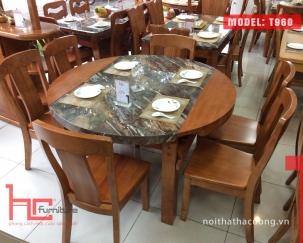 Bộ bàn ăn T960 + 6 ghế C658