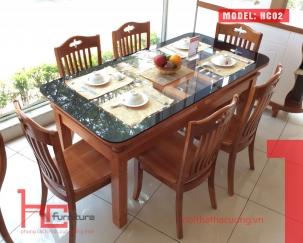 Bộ bàn ăn HC02 2 tầng + 6 ghế C609