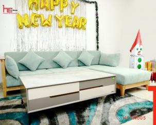 Sofa gỗ đệm nỉ đẹp HCTN005